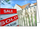 Housing Greeting Cards - Real Estate Sold Sign Greeting Card by Olivier Le Queinec