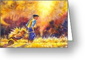 Workers Drawings Greeting Cards - Reaping the Autumn Harvest Greeting Card by Carol Wisniewski