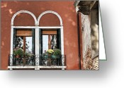 Places In Venice.venecia.venezia.venice Greeting Cards - Rear windows Greeting Card by Tom Prendergast