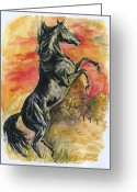 Wild Horse Painting Greeting Cards - Rearing Greeting Card by Jana Goode
