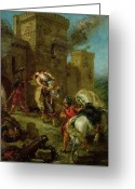 Knights Castle Painting Greeting Cards - Rebecca Kidnapped by the Templar Greeting Card by Ferdinand Victor Eugene Delacroix