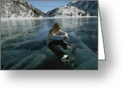 Snow Scenes Greeting Cards - Rebecca Quinton Laces Up Her Ice Skates Greeting Card by Michael S. Quinton