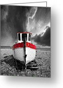 Fishing Boat Greeting Cards - Rebecca Wearing Just Red Greeting Card by Meirion Matthias