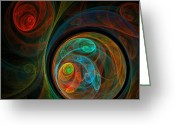 Red Abstract Greeting Cards - Rebirth Greeting Card by Oni H