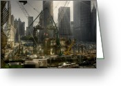 Busy City Greeting Cards - Rebuilding From Ground Zero in New York City Greeting Card by Marlene Ford