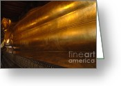 World Tour Greeting Cards - Reclining Buddha Grand Palace Thailand Greeting Card by Bob Christopher