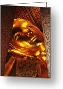 Lustrous Greeting Cards - Reclining Buddha Greeting Card by Oliver Johnston