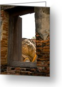 Sash Greeting Cards - Reclining Buddha view through a window Greeting Card by Ulrich Schade