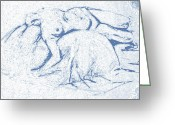 Nudes Drawings Greeting Cards - Reclining nude 3 Greeting Card by Julie Lueders