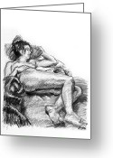 Nudes Drawings Greeting Cards - Reclining nude female charcoal drawing Greeting Card by Adam Long