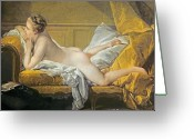 Pillows Greeting Cards - Reclining Nude Greeting Card by Francois Boucher