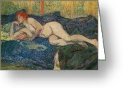 Toulouse-lautrec Greeting Cards - Reclining Nude Greeting Card by Henri De Toulouse-Lautrec