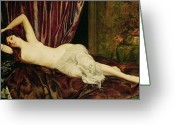 Curtain Greeting Cards - Reclining Nude Greeting Card by Henri Fantin Latour