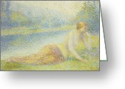 Pointillist Painting Greeting Cards - Reclining Nude Greeting Card by Hippolyte Petitjean