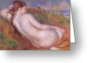 Pierre Renoir Greeting Cards - Reclining Nude in a Landscape Greeting Card by Pierre Auguste Renoir