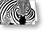 Black Greeting Cards - Reclining Zebra Greeting Card by Dave Gordon