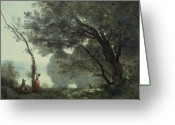 1796 Greeting Cards - Recollections of Mortefontaine Greeting Card by Jean Baptiste Corot