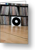 Vinyl Greeting Cards - Records Leaning Against Shelves Greeting Card by Halfdark