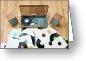 Stereo Greeting Cards - Records Lying On Floor By 1970?s Stereo System Greeting Card by Jorg Greuel