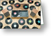 Stereo Greeting Cards - Records Lying On Floor Surrounding 1970?s Stereo System Greeting Card by Jorg Greuel