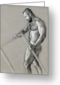 Man Drawings Greeting Cards - Rectangle 2 Greeting Card by Chris  Lopez