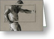 Muscular Drawings Greeting Cards - Rectangle Greeting Card by Chris Lopez
