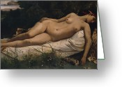 Laying Greeting Cards - Recumbent Nymph Greeting Card by Anselm Feuerbach