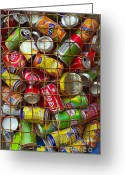 Aluminum Greeting Cards - Recycling cans Greeting Card by Carlos Caetano