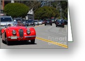 British Classic Cars Greeting Cards - Red 1952 Jaguar XK120 . 7d15939 Greeting Card by Wingsdomain Art and Photography