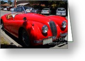 British Classic Cars Greeting Cards - Red 1952 Jaguar XK120 . 7d15950 Greeting Card by Wingsdomain Art and Photography