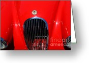 British Classic Cars Greeting Cards - Red 1952 Jaguar XK120 . 7d15951 Greeting Card by Wingsdomain Art and Photography