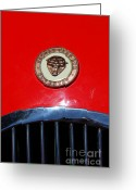 British Cars Greeting Cards - Red 1952 Jaguar XK120 . 7d15952 Greeting Card by Wingsdomain Art and Photography