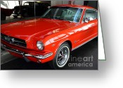 Classic Mustang Greeting Cards - Red 1965 Ford Mustang . Front Angle Greeting Card by Wingsdomain Art and Photography