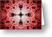 Fractal Greeting Cards - Red Greeting Card by Adam Romanowicz
