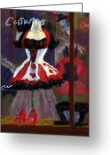 Red Pastels Greeting Cards - Red And Black Jester Costume Greeting Card by Cheryl Whitehall
