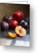Cooks Illustrated Painting Greeting Cards - Red and Black Plums Greeting Card by Robert Papp