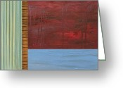 Abstract Sky Greeting Cards - Red and Blue Study Greeting Card by Michelle Calkins