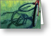 Bike Riding Greeting Cards - Red and Green - bike art Greeting Card by Linda Apple
