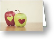 Heart-shape Greeting Cards - Red And Green Apple With Heart Shape Greeting Card by Maria Kallin