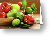 Ripened Fruit Greeting Cards - Red and green apples in a bowl Greeting Card by Sandra Cunningham