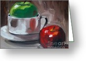 Red And Tea Greeting Cards - Red And Green Apples Greeting Card by Samantha Black
