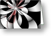 Illusion Illusions Greeting Cards - Red and Silver Greeting Card by Kristin Kreet