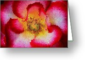 Abstract Flower Greeting Cards - Red and White and Glass Greeting Card by Leonard Rosenfield