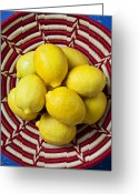 Citrus Fruits Greeting Cards - Red and white basket full of lemons Greeting Card by Garry Gay