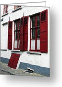Medieval Architecture Greeting Cards - Red and White in Bruges Greeting Card by John Rizzuto