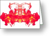 Duplicate Greeting Cards - Red and Yellow ink abstract Greeting Card by Richard Thomas