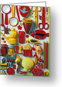 Pills Greeting Cards - Red and yellow objects Greeting Card by Garry Gay