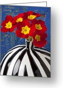 Bold Blossom Greeting Cards - Red And Yellow Primrose Greeting Card by Garry Gay