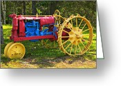Prince Greeting Cards - Red and yellow tractor Greeting Card by Garry Gay