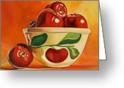 Kitchen Ware Greeting Cards - Red Apples in Vintage Watt Yellowware Bowl Greeting Card by Toni Grote
